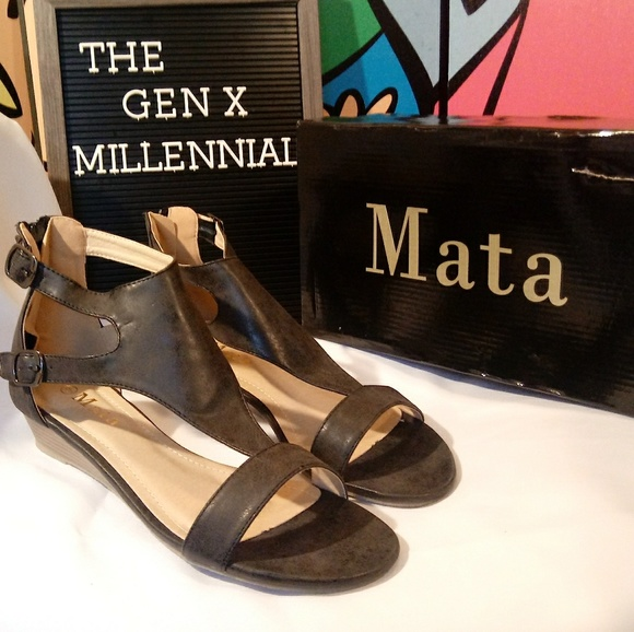 fa8ffab1c47 Black Low Stacked Wedge Ankle T Strap Sandal. Boutique. Mata